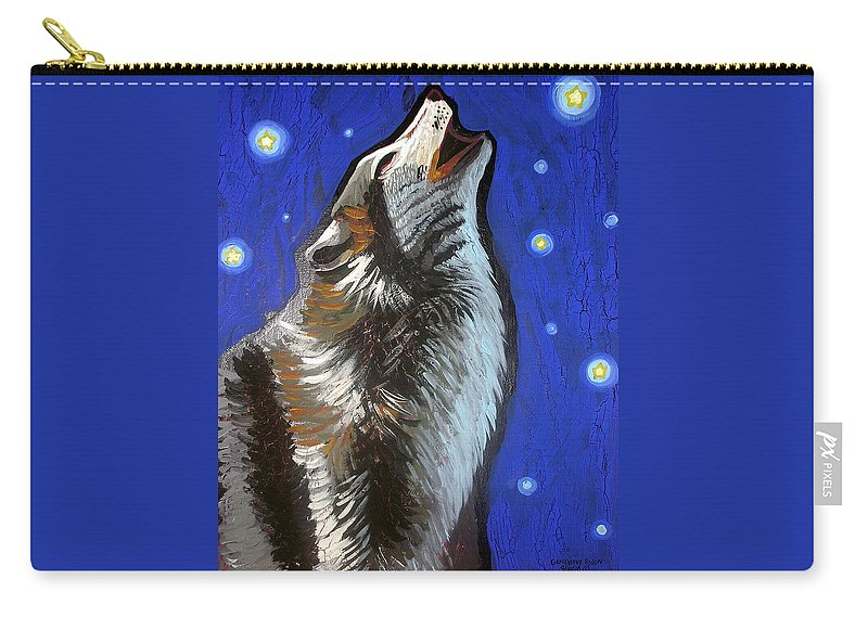 Wolf Carry-all Pouch featuring the painting Wolf Howl by Genevieve Esson