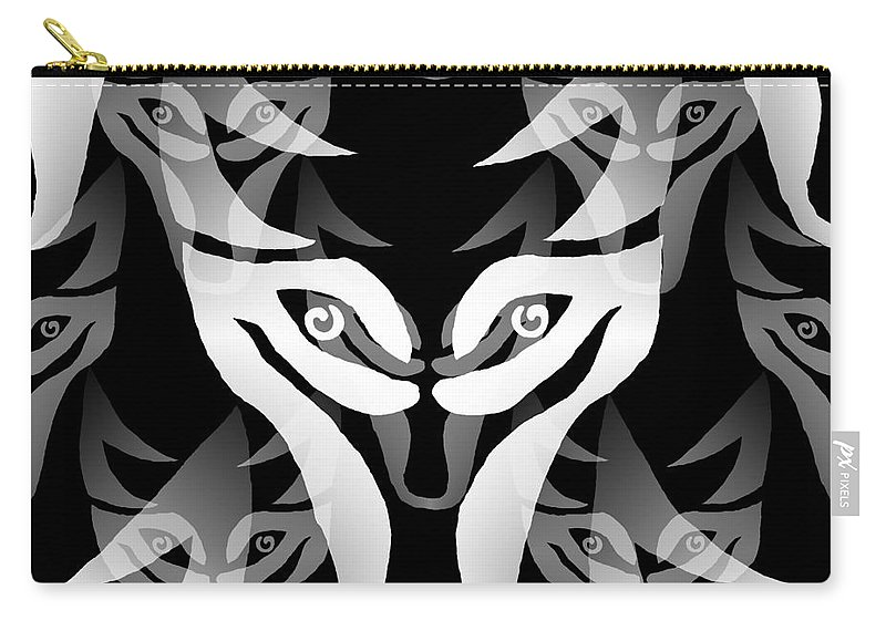 Wolf Carry-all Pouch featuring the digital art Wolf Mask by Barbara Moignard