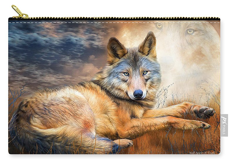 Carol Cavalaris Carry-all Pouch featuring the mixed media Wolf - Spirit Of Truth by Carol Cavalaris