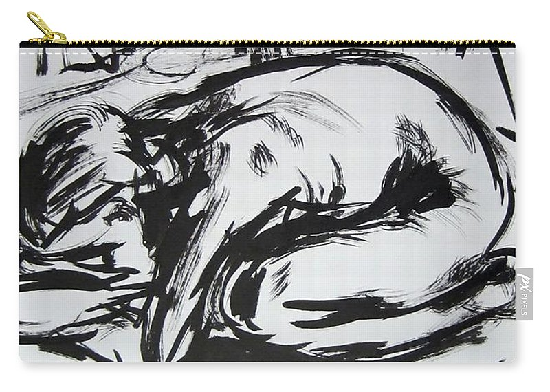 Ink Carry-all Pouch featuring the drawing Woman Alone with Shadows by Kendall Kessler