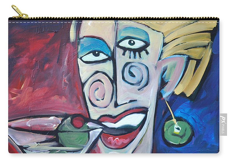 Martini Carry-all Pouch featuring the painting Woman At Martini Bar by Tim Nyberg