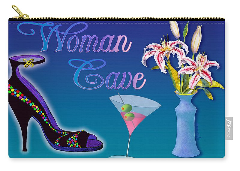 Stargazers Carry-all Pouch featuring the painting Woman Cave With Stargazers by Teresa Ascone