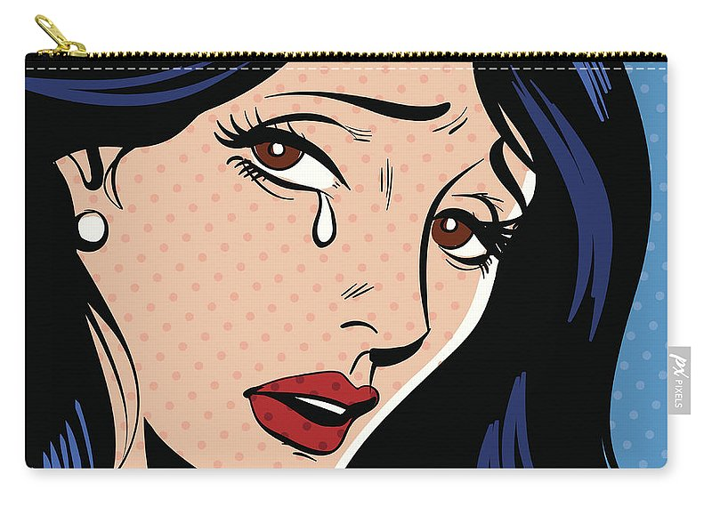 Problems Carry-all Pouch featuring the digital art Woman Crying by Mcmillan Digital Art