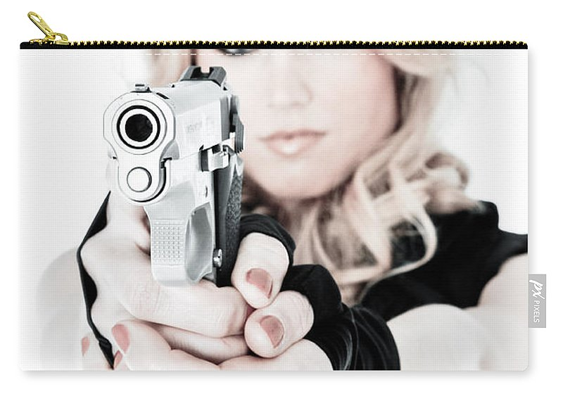 Gun Carry-all Pouch featuring the photograph Woman Defense by Jt PhotoDesign