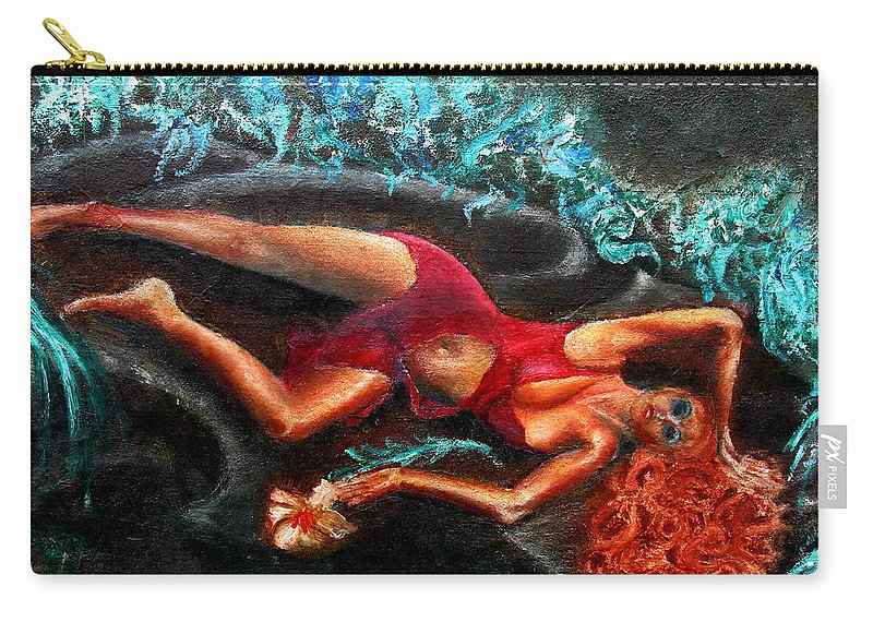 Females Carry-all Pouch featuring the painting Woman In A Red Dress Holding A Flower by Tom Conway