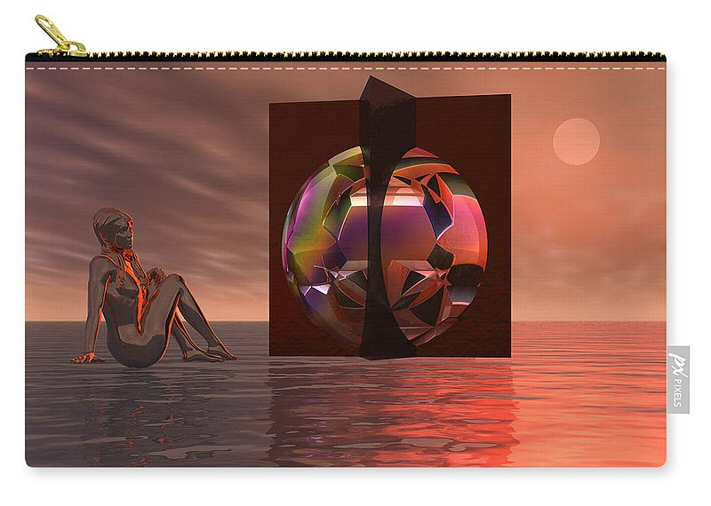 Contemplation Carry-all Pouch featuring the digital art Woman In Contemplation Nude by Judi Suni Hall
