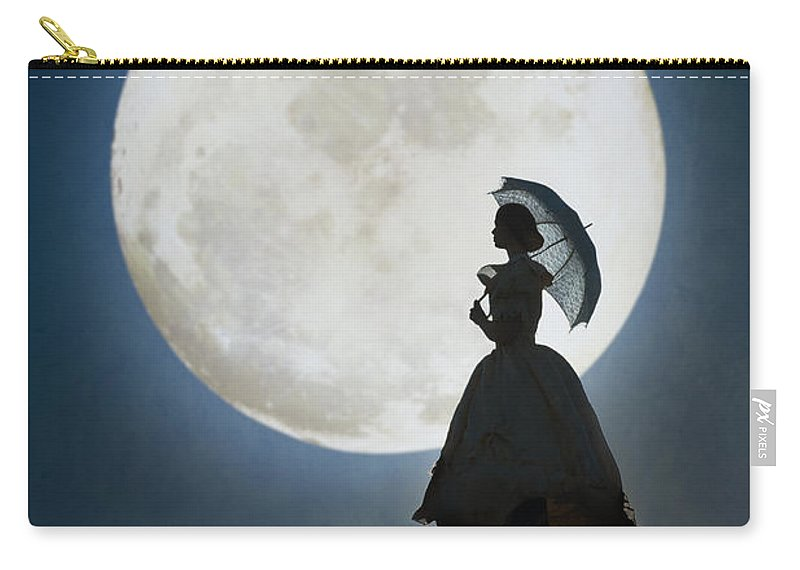 Victorian Carry-all Pouch featuring the photograph Woman In Historical Clothing On A Cliff With Full Moon by Lee Avison