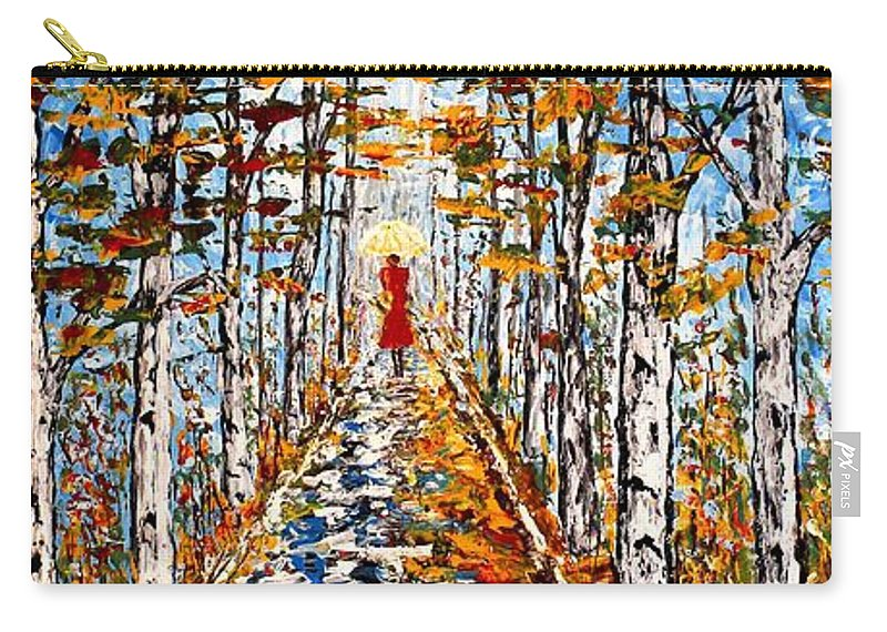 Acrylic Fall Landscape Carry-all Pouch featuring the painting Woman In Red In Fall Rainy Day by Georgeta Blanaru