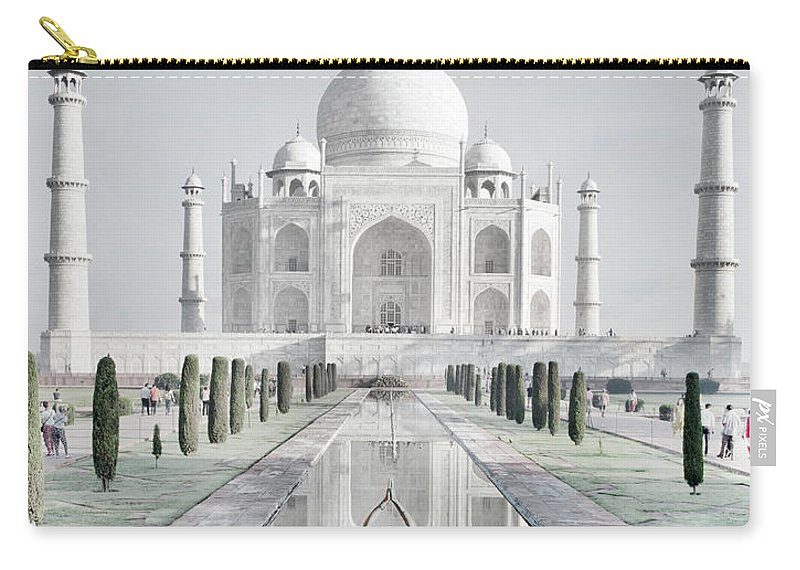 Tranquility Carry-all Pouch featuring the photograph Woman In Red Sari Praying At Taj Mahal by Grant Faint