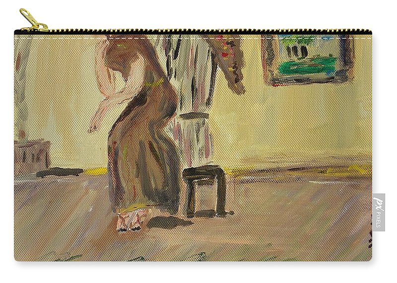 Woman In The Art Gallery Carry-all Pouch featuring the painting Woman In The Art Gallery by Mary Carol Williams