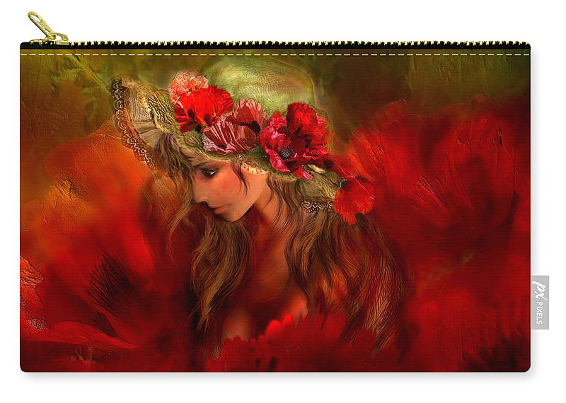 Carol Cavalaris Carry-all Pouch featuring the mixed media Woman In The Poppy Hat by Carol Cavalaris