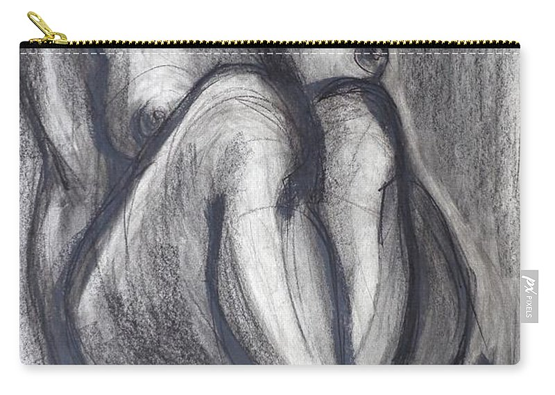 Black Carry-all Pouch featuring the painting Woman Sitting On Round Chair - Female Nude by Carmen Tyrrell