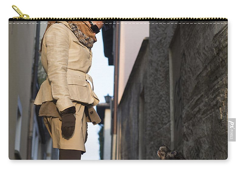 Woman Carry-all Pouch featuring the photograph Woman Speak With Her Dog by Mats Silvan