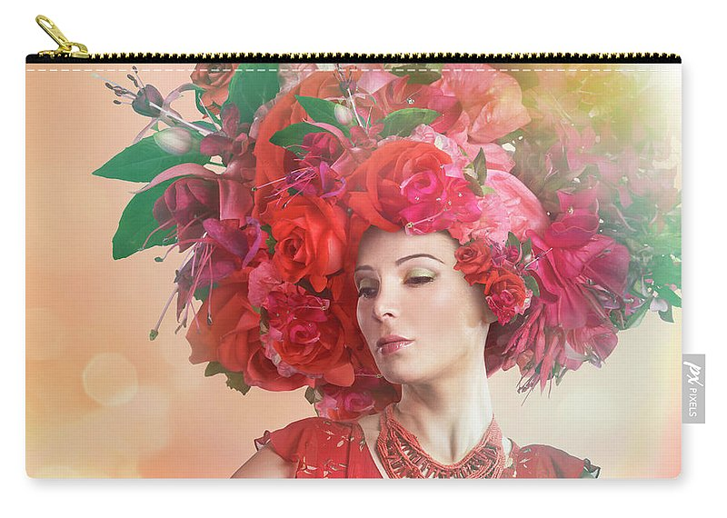 Art Carry-all Pouch featuring the photograph Woman Wearing A Big Red Hat Made Of by Paper Boat Creative