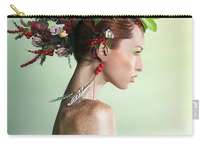 Art Carry-all Pouch featuring the photograph Woman Wearing A Colorful Floral Mohawk by Paper Boat Creative