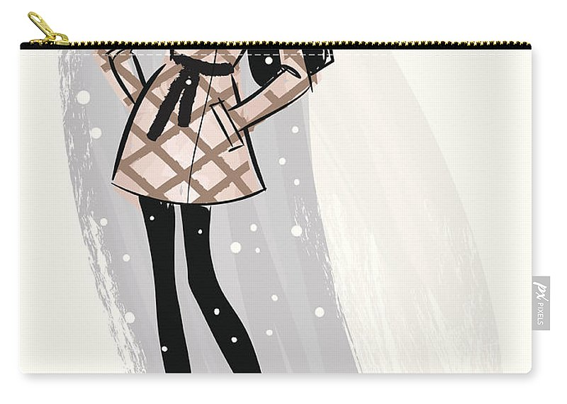 People Carry-all Pouch featuring the digital art Woman Wearing Jacket In Snow by Mcmillan Digital Art