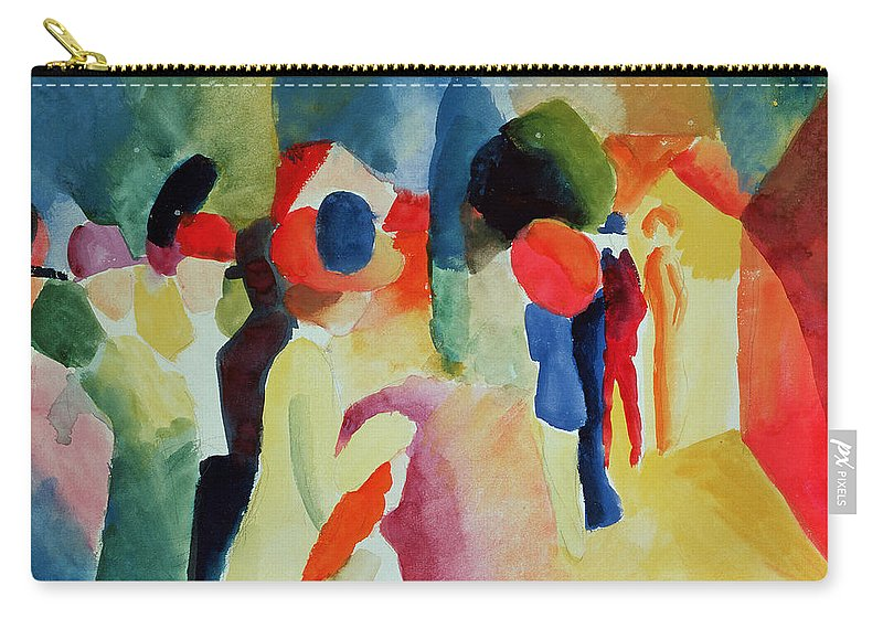 Macke Carry-all Pouch featuring the painting Woman With A Yellow Jacket by August Macke