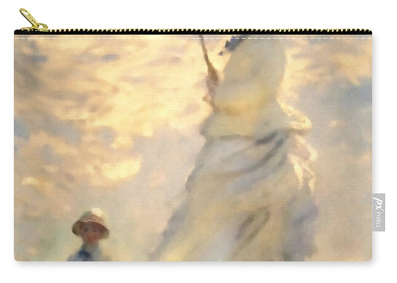 Monet Carry-all Pouch featuring the painting Woman With Parasol Dedication by Georgiana Romanovna