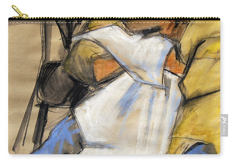 Live Model Study Carry-all Pouch featuring the painting Woman With White Towel - Helene #9 - Figure Series by Mona Edulesco