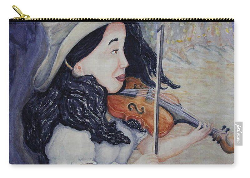 Fiddle Carry-all Pouch featuring the painting Woman's Autumnal Twilight Serenade by Dawna Morton