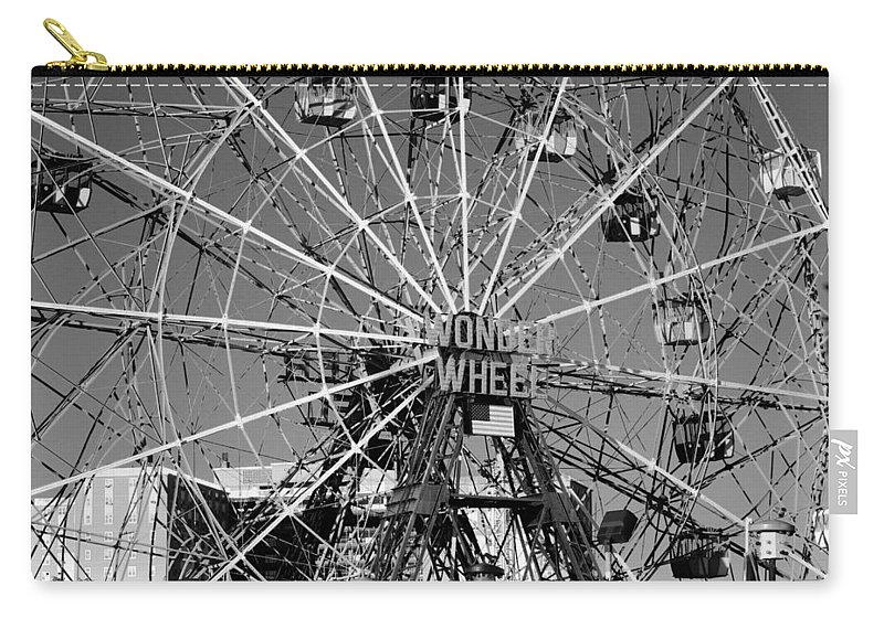 Brooklyn Carry-all Pouch featuring the photograph WONDER WHEEL of CONEY ISLAND in BLACK AND WHITE by Rob Hans