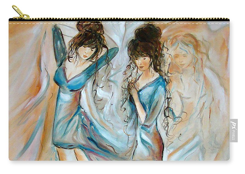Contemporary Art Carry-all Pouch featuring the painting Wondering by Silvana Abel