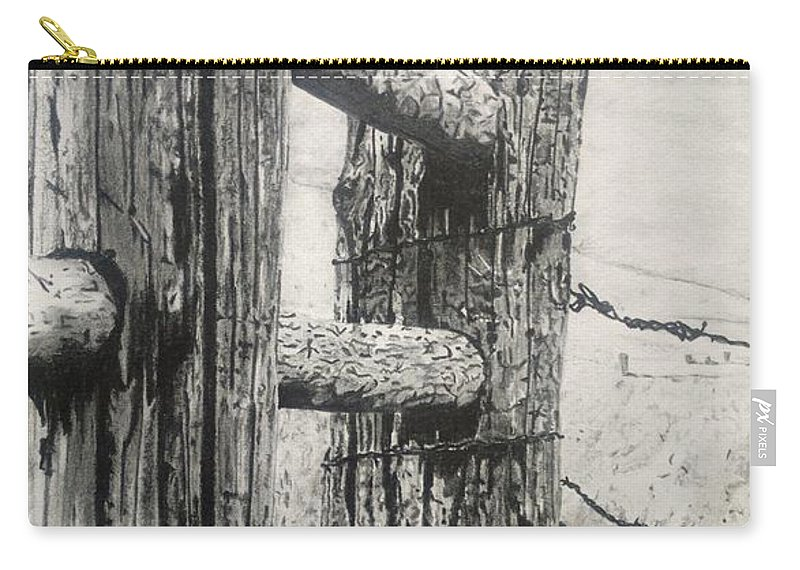 Wood Carry-all Pouch featuring the drawing Wood And Wire by Jackie Mestrom