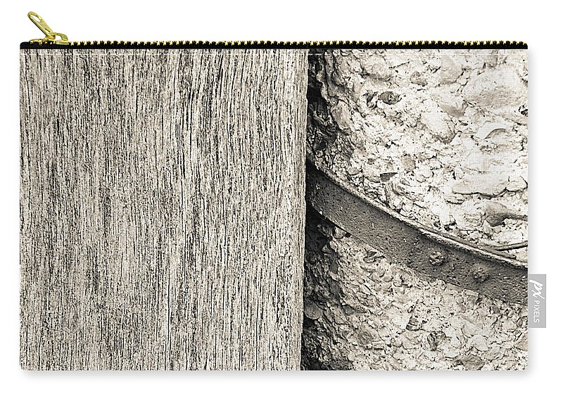 Wood Carry-all Pouch featuring the photograph Wood Concrete And Steel by Nick Kirby