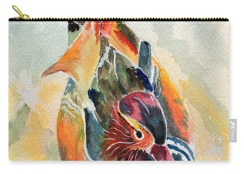 Duck Carry-all Pouch featuring the painting Wood Duck by Judith Rice