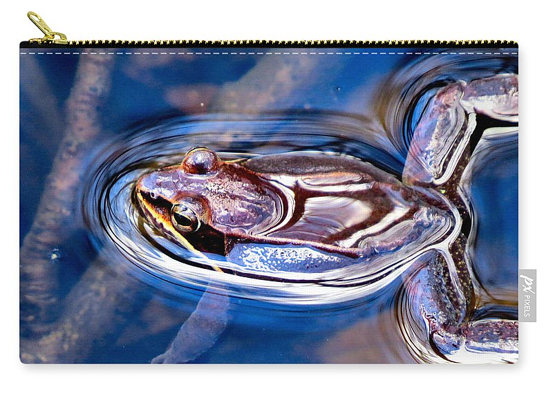 Wood Carry-all Pouch featuring the photograph Wood Frog Float by Art Dingo