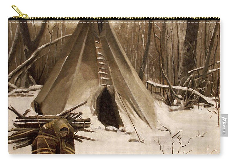 Native American Carry-all Pouch featuring the painting Wood Gatherer by Nancy Griswold