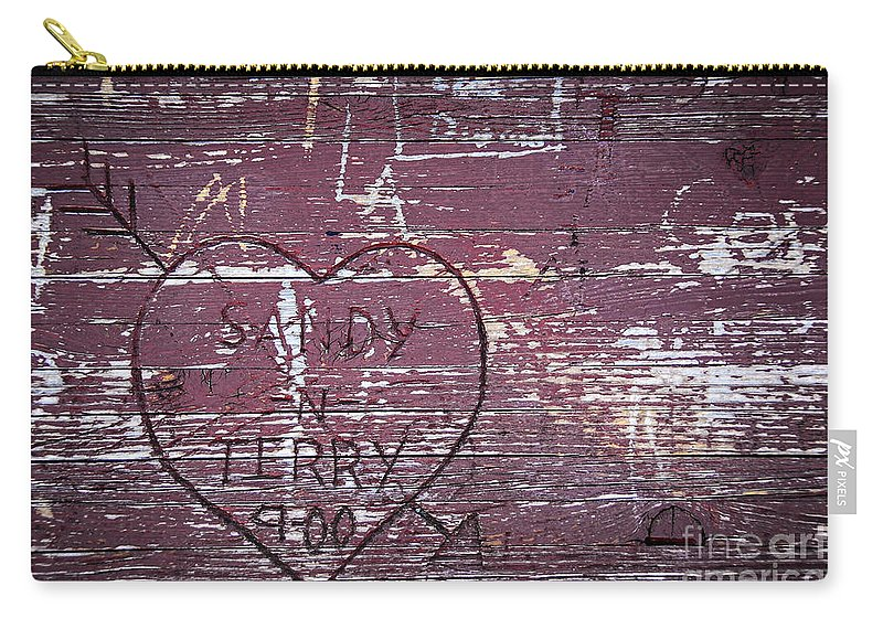 Abstract Carry-all Pouch featuring the photograph Wood Graffiti by Elena Elisseeva
