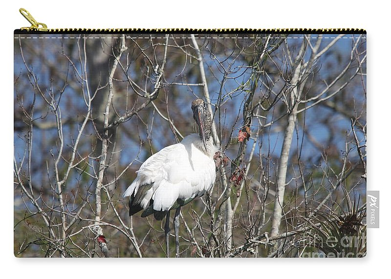 Wood Stork Carry-all Pouch featuring the photograph Wood Stork In A Tree by Christiane Schulze Art And Photography
