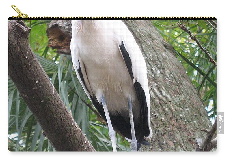 Wood Stork Carry-all Pouch featuring the photograph Wood Stork On A Limp by Christiane Schulze Art And Photography