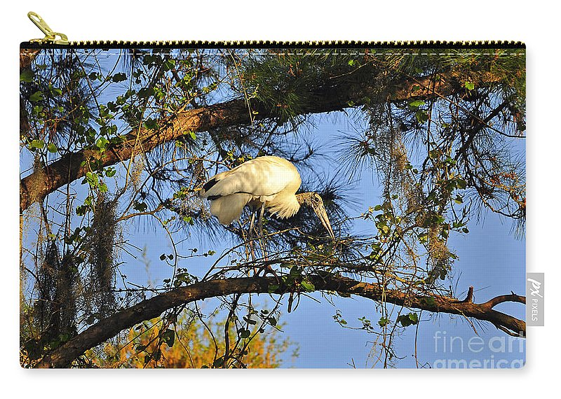Stork Carry-all Pouch featuring the photograph Wood Stork Perch by Al Powell Photography USA