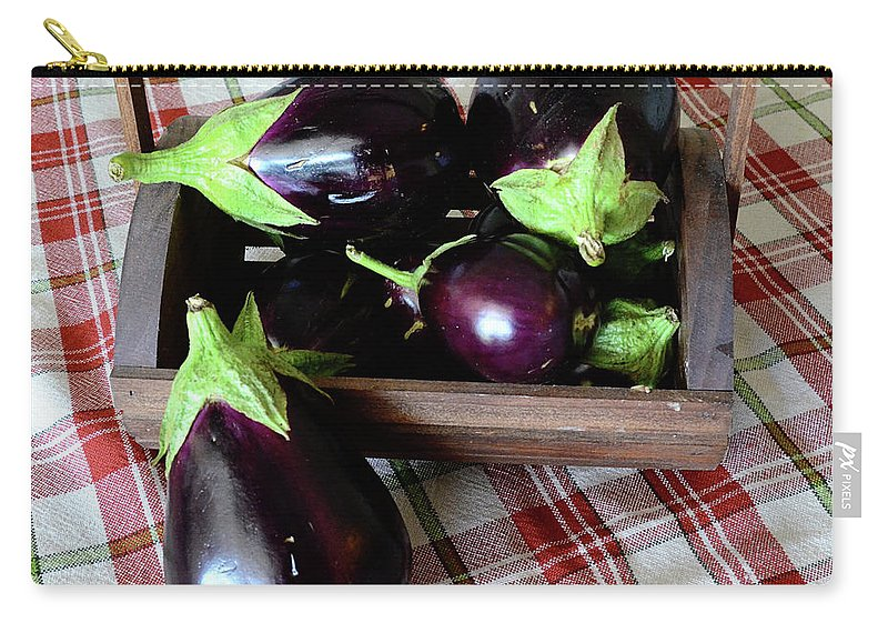 Purple Carry-all Pouch featuring the photograph Wooden Basket Of Eggplant by Jessica Lynn Culver