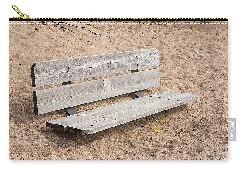 Wood Carry-all Pouch featuring the photograph Wooden Bench Burried In The Sand by Les Palenik