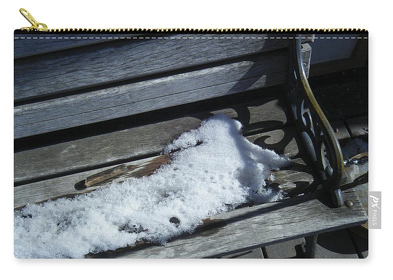 Backyard Carry-all Pouch featuring the photograph Wooden Bench With Snow 1 by Tamara Kulish