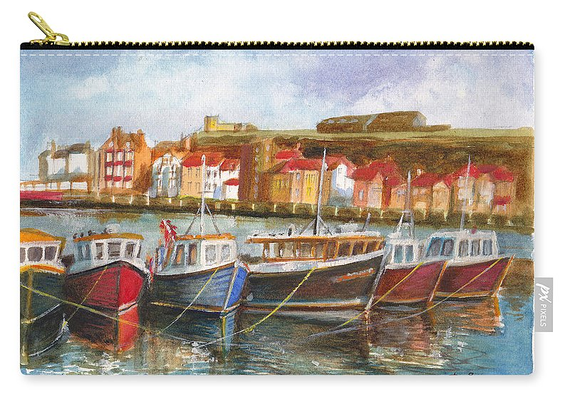 Fishing Fleet Carry-all Pouch featuring the painting Wooden Fishing Boats In The Whitby Fleet Of Northern England by Dai Wynn