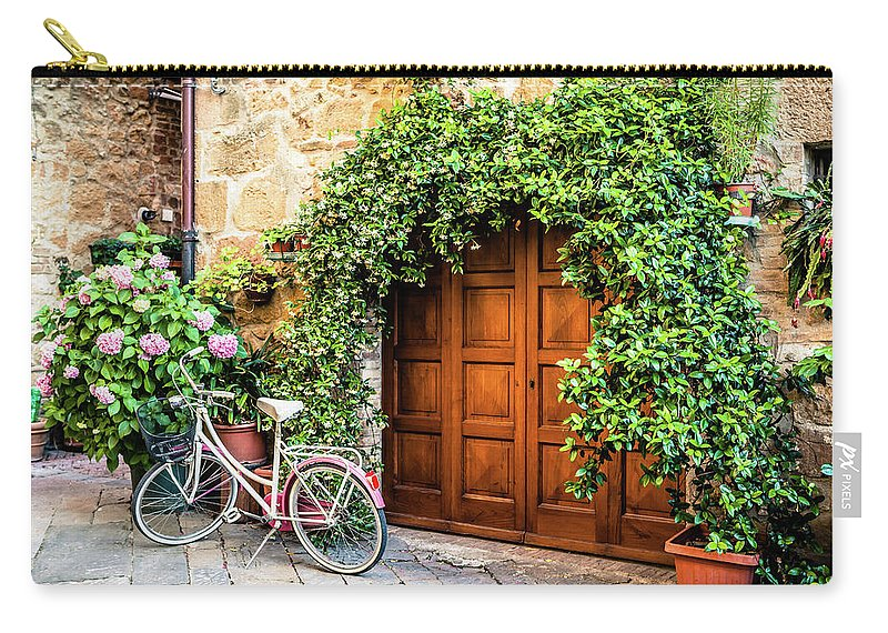 Val D'orcia Carry-all Pouch featuring the photograph Wooden Gate With Plants In An Ancient by Giorgiomagini