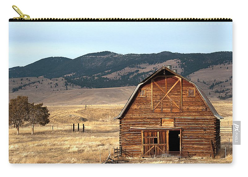 Scenics Carry-all Pouch featuring the photograph Wooden Hut In The Countryside Of by Feifei Cui-paoluzzo