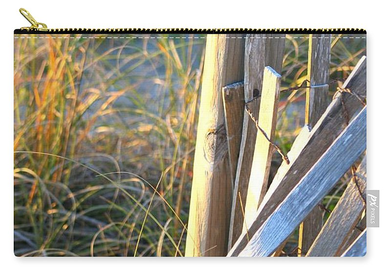 Post Carry-all Pouch featuring the photograph Wooden Post And Fence At The Beach by Nadine Rippelmeyer
