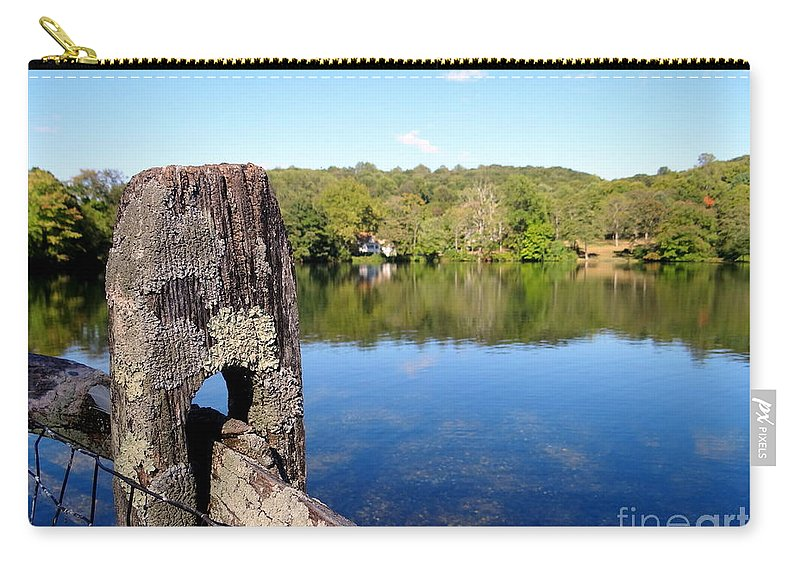 Fencepost Carry-all Pouch featuring the photograph Wooden Post by Ed Weidman