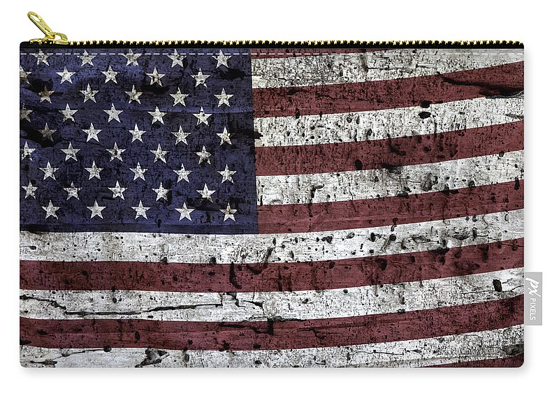 Usa Carry-all Pouch featuring the photograph Wooden Textured U. S. A. Flag by John Stephens