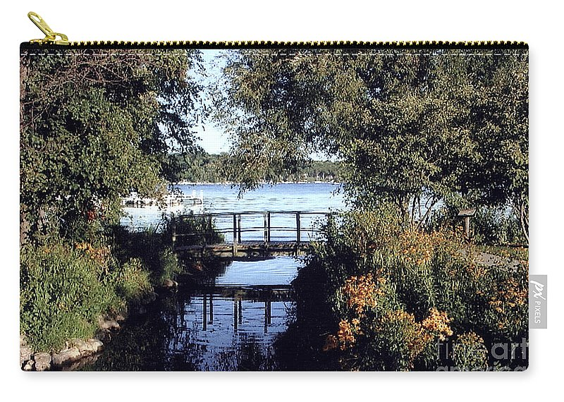 Wood Foot Bridge Carry-all Pouch featuring the photograph Woodfoot Bridge Of Williams Bay Wi Over Geneva Lake by Jane Butera Borgardt