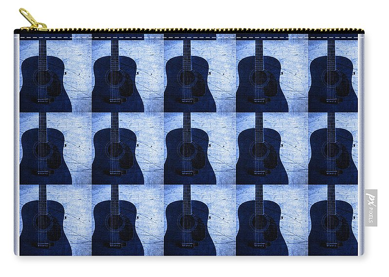Woodgrain Guitar Blue Carry-all Pouch featuring the photograph Woodgrain Guitar Blue by Barbara Griffin