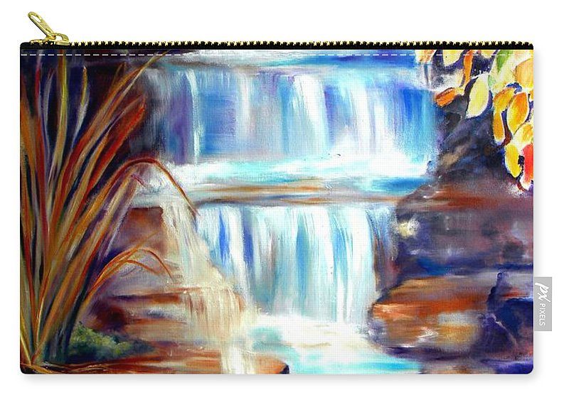 Waterfall Carry-all Pouch featuring the painting Woodland Oasis by Sandy Ryan