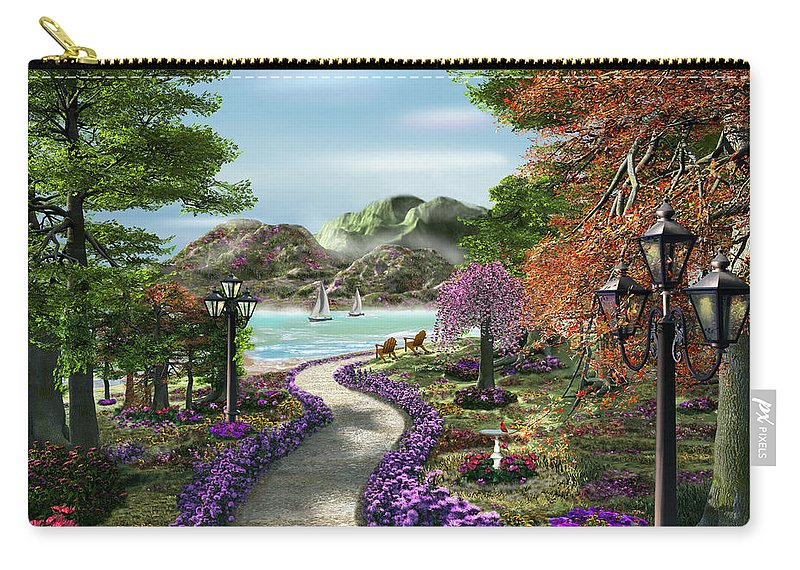 Caplyn Dor Carry-all Pouch featuring the mixed media Woodland Path by Caplyn Dor
