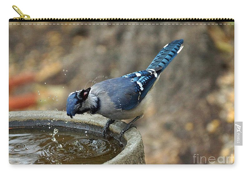 Blue Jay Carry-all Pouch featuring the photograph Woohoo by Lori Tordsen