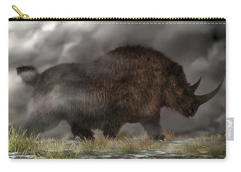 Woolly Rhino Carry-all Pouch featuring the digital art Woolly Rhinoceros by Daniel Eskridge